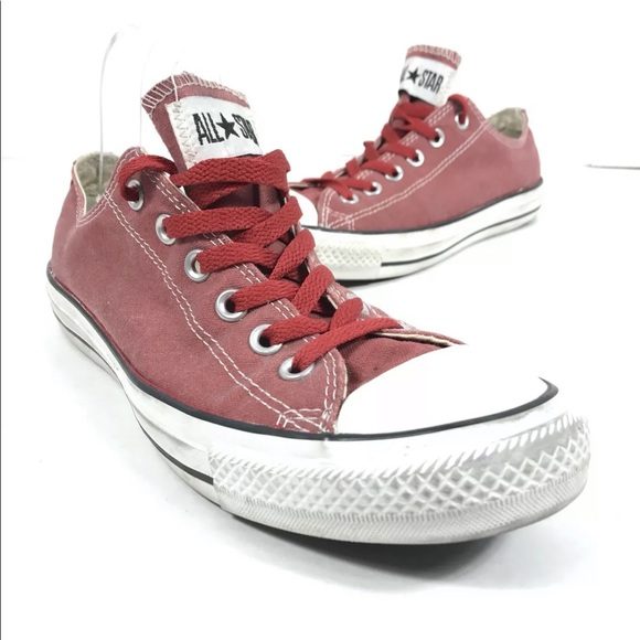 Converse Red Low Top Sneakers Shoes
